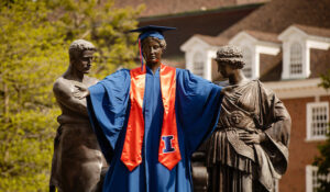 UIUC Alma Mater statue in cap and gown